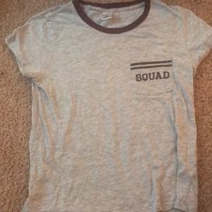 squad maroon and gray shirt